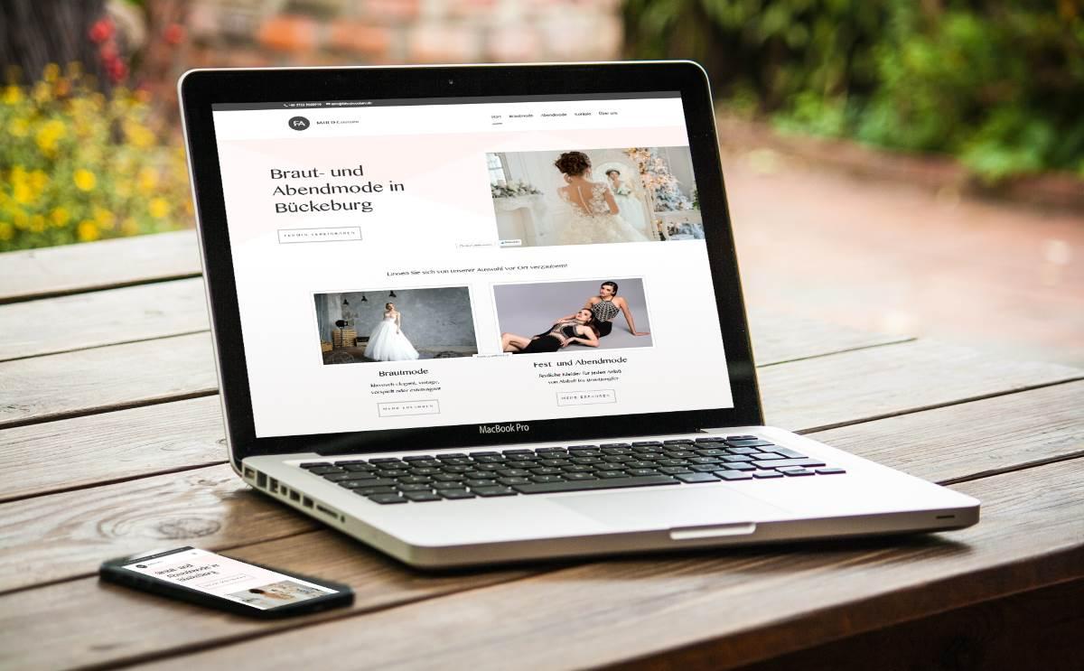 modernes Webdesign - responsive Webdesign mit WordPress - moderne Webseite für Fahed Couture