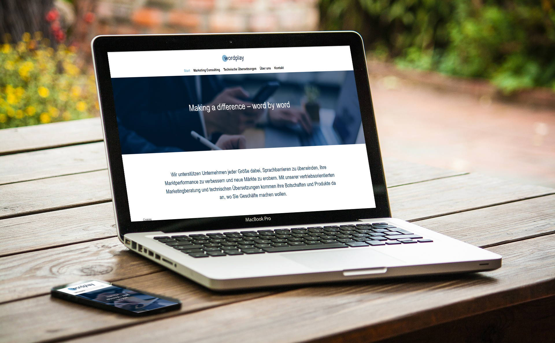 modernes Webdesign - responsive Webdesign mit WordPress - Webseite für Wordplay Consulting Erlangen