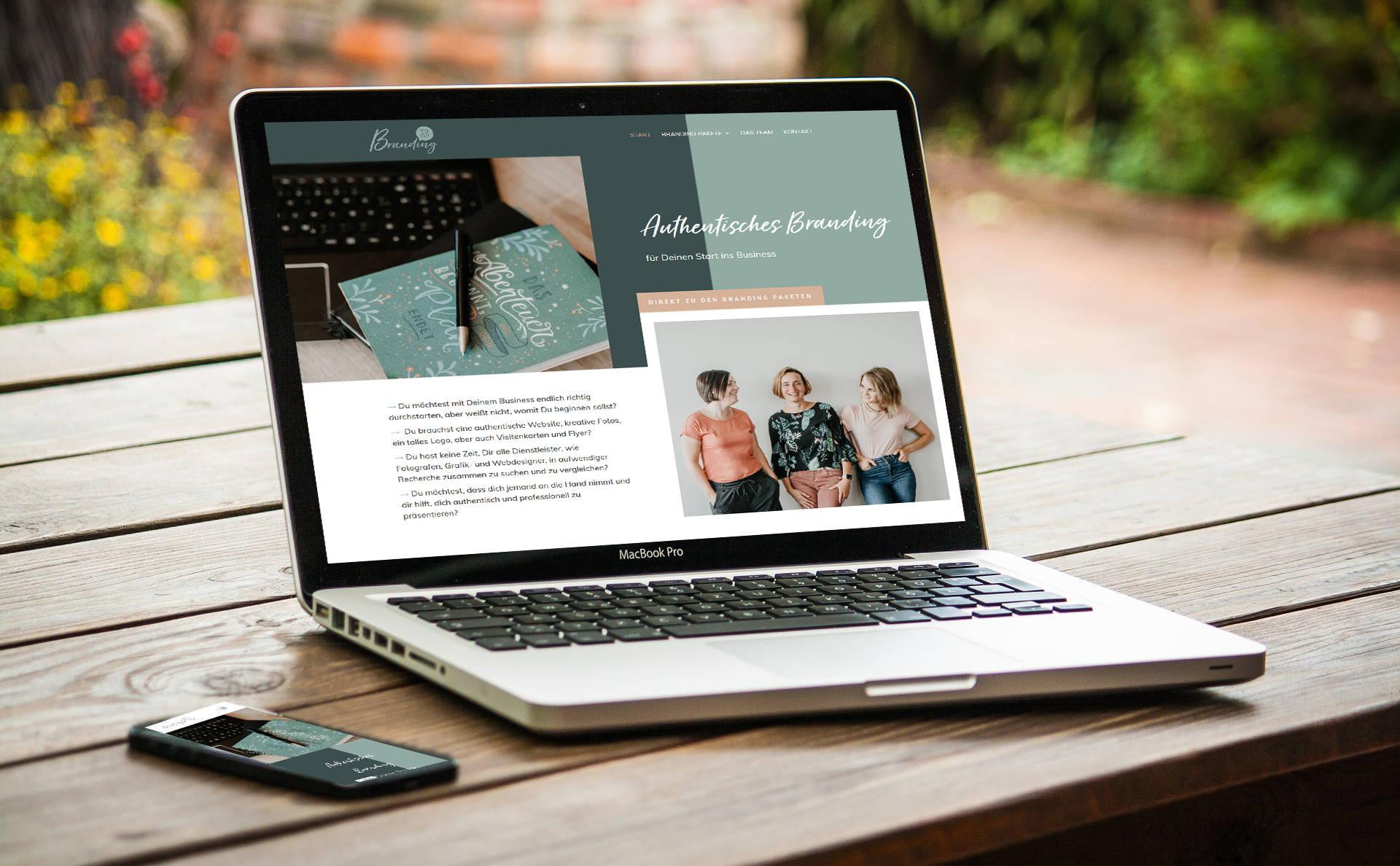 """modernes Webdesign - responsive Webdesign mit WordPress - Webseite für """"Branding to Go"""""""